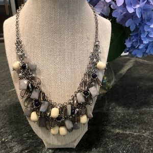 Blue and gray layered beaded necklace